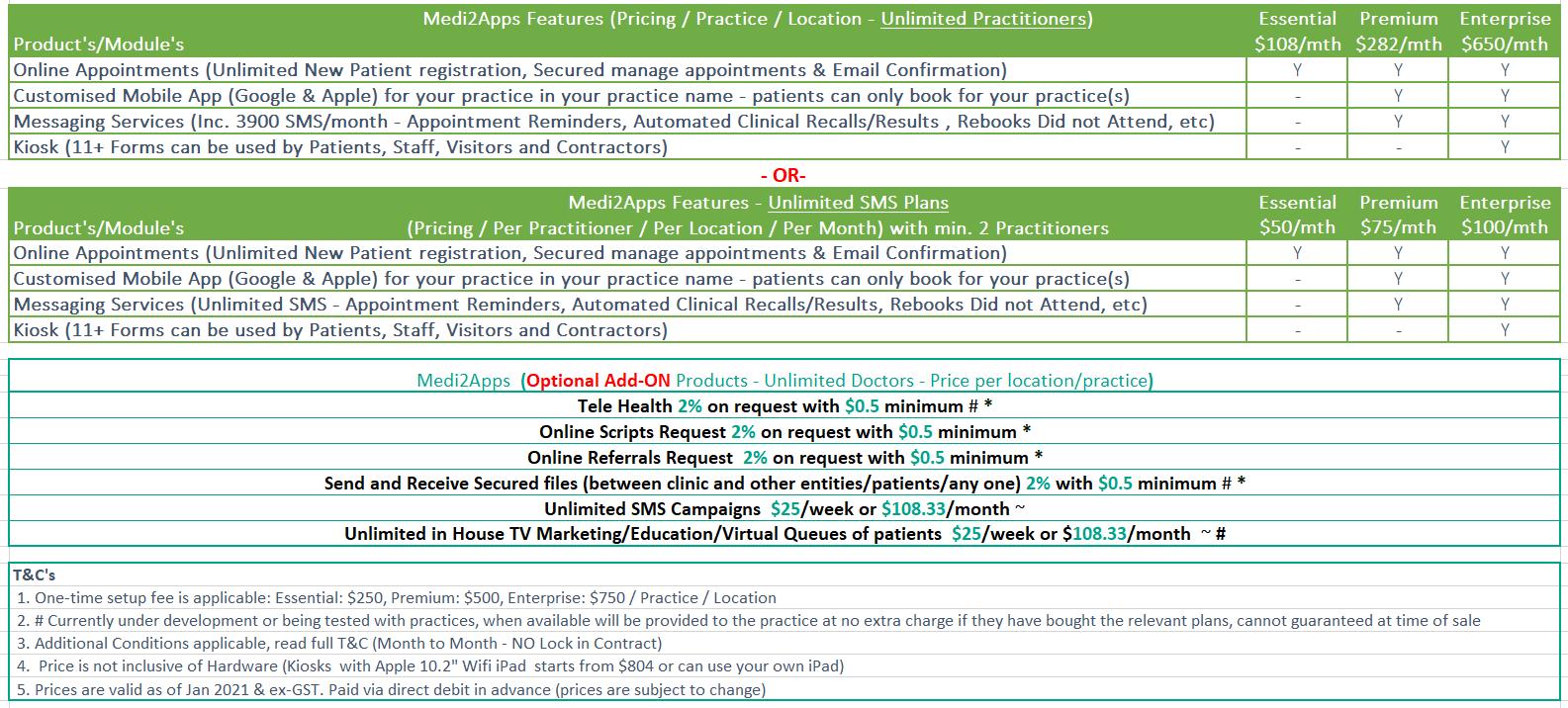 Medi2Apps Simple pricing Jan 2021